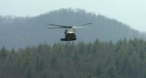 Helicopter at Biltmore Estate during rescue excercise